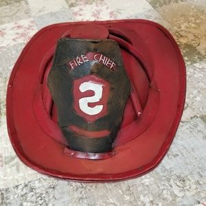 Vintage Metal Fireman Helmet Decor